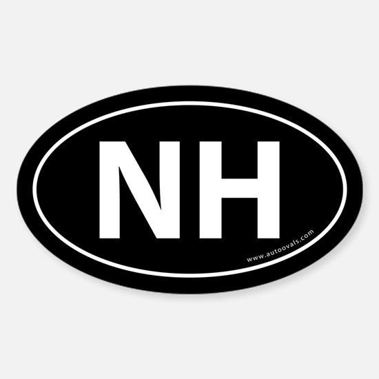 New Hampshire NH Auto Sticker -Black (Oval)