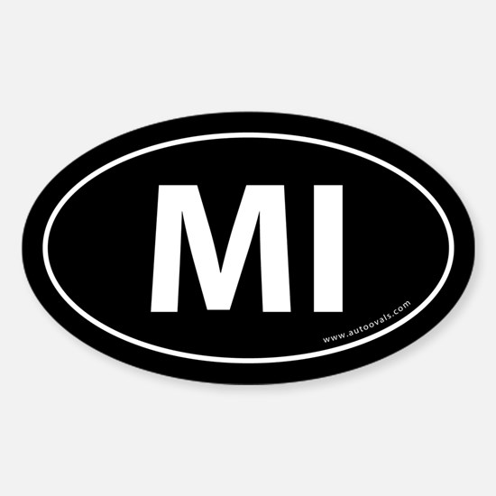 Michigan MI Auto Sticker -Black (Oval)