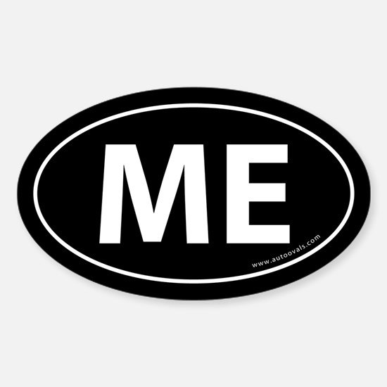 Maine ME Auto Sticker -Black (Oval)