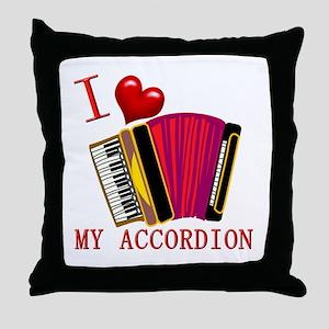 I Love My ACCORDION Throw Pillow
