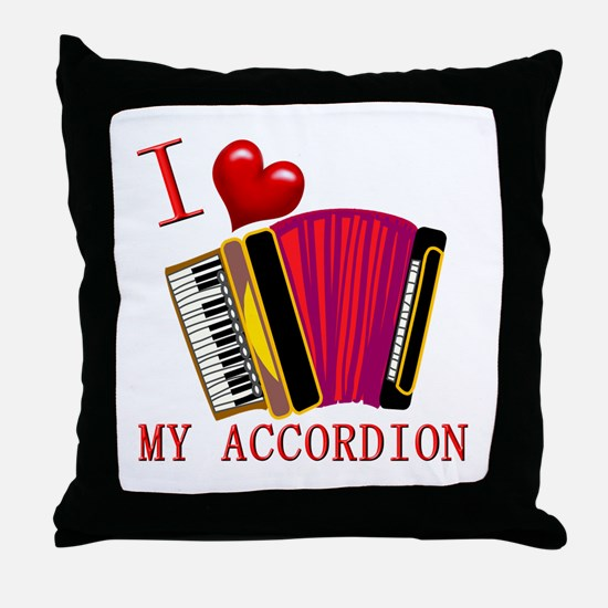 I Love My ACCORDION Throw Pillow