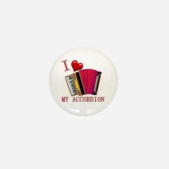 I Love My ACCORDION Mini Button