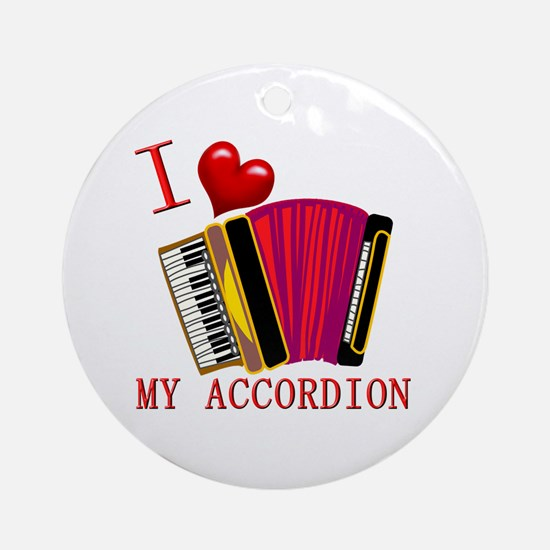 I Love My ACCORDION Ornament (Round)