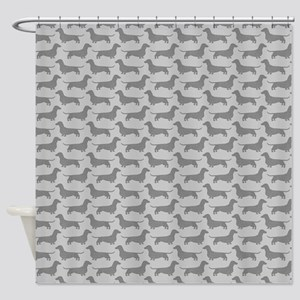 Dachshund Silhouettes Pattern Shower Curtain