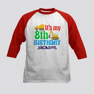 8th Birthday Construction Kids Baseball Jersey