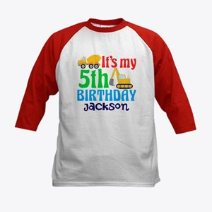 5th Birthday Construction Kids Baseball Jersey