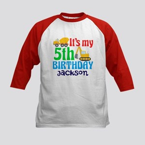 5th Birthday Construction Kids Baseball Jersey
