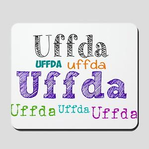 Uffda multi-color text Mousepad