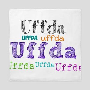 Uffda multi-color text Queen Duvet