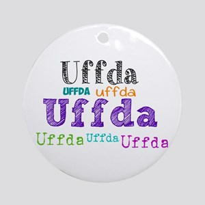 Uffda Multi-Color Text Round Ornament