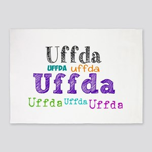 Uffda multi-color text 5'x7'Area Rug