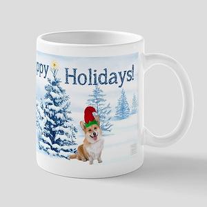 Corgi Happy Holidays Mugs
