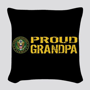 U.S. Army: Proud Grandpa (Blac Woven Throw Pillow