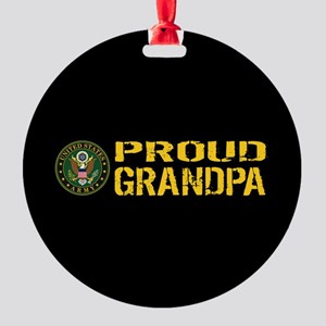U.S. Army: Proud Grandpa (Black & G Round Ornament