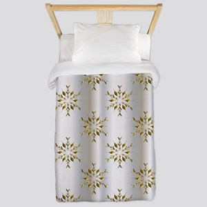 Gold Christmas Stars on Silver Twin Duvet