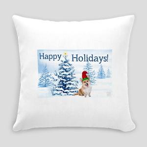 Corgi Happy Holidays Everyday Pillow