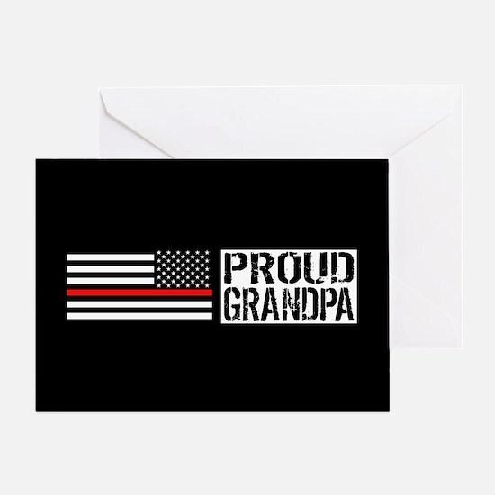 Firefighter: Proud Grandpa (Black Fl Greeting Card