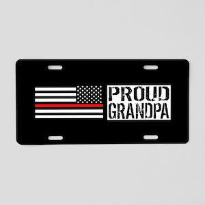 Firefighter: Proud Grandpa Aluminum License Plate