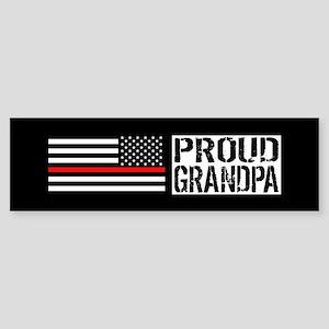 Firefighter: Proud Grandpa (Black Sticker (Bumper)