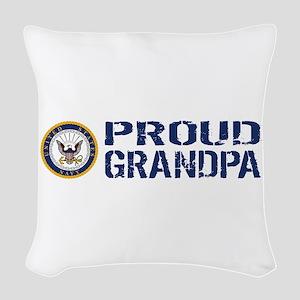 U.S. Navy: Proud Grandpa (Blue Woven Throw Pillow