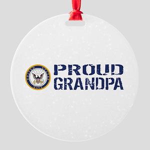 U.S. Navy: Proud Grandpa (Blue & Wh Round Ornament