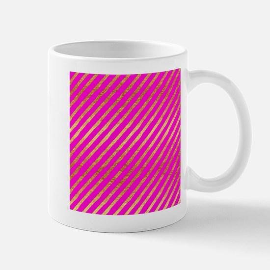 Gold Stripes Faux Foil Metallic Hot Pink Mage Mugs