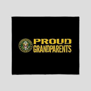 U.S. Army: Proud Grandparents (Black Throw Blanket