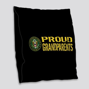 U.S. Army: Proud Grandparents Burlap Throw Pillow
