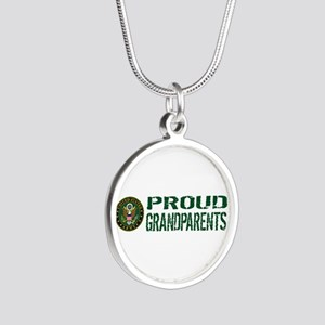 U.S. Army: Proud Grandparent Silver Round Necklace