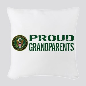 U.S. Army: Proud Grandparents Woven Throw Pillow