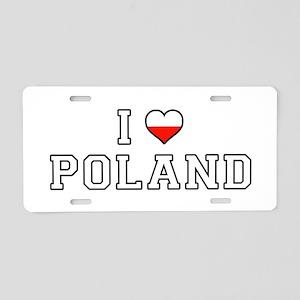 I Love Poland Aluminum License Plate