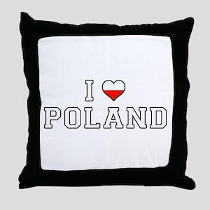 I Love Poland Throw Pillow