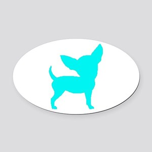 Chihuahua Two Lt Blue 1C Oval Car Magnet