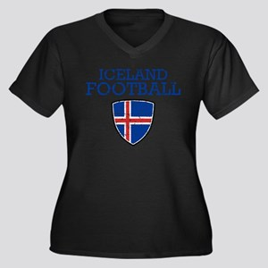 Iceland Foot Women's Plus Size V-Neck Dark T-Shirt