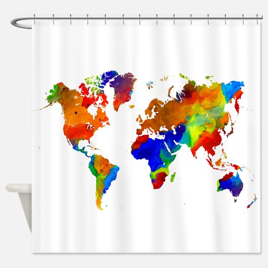 Map of australia shower curtains cafepress design 33 colorful world map shower curtain gumiabroncs Gallery