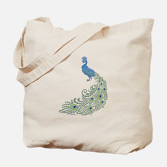 Jeweled Peacock Tote Bag