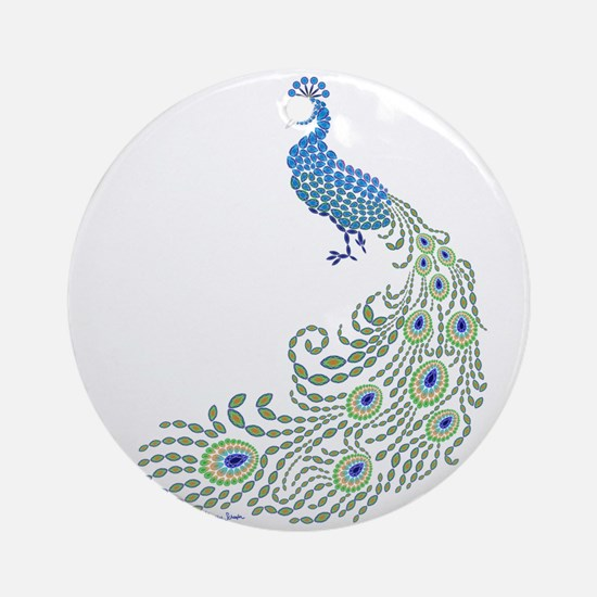 Jeweled Peacock Round Ornament