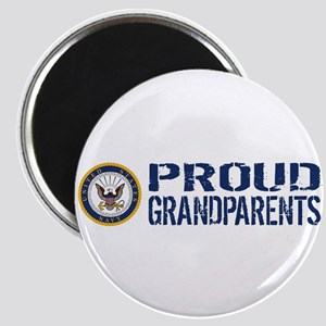 U.S. Navy: Proud Grandparents (Blue & White Magnet