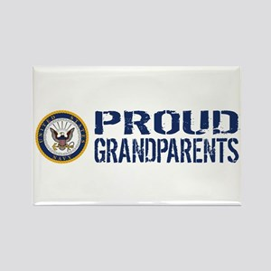 U.S. Navy: Proud Grandparents (Bl Rectangle Magnet