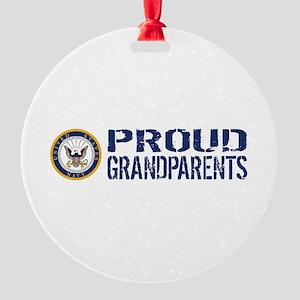 U.S. Navy: Proud Grandparents (Blue Round Ornament