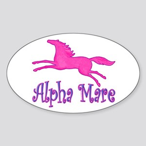 Alpha Mare. Pink Horse Oval Sticker