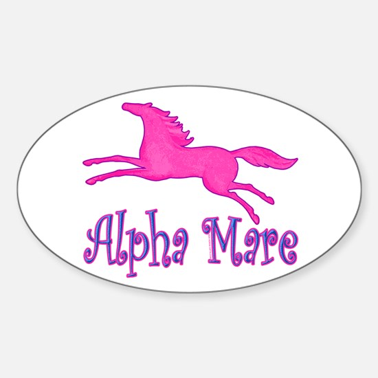 Alpha Mare. Pink Horse Oval Decal
