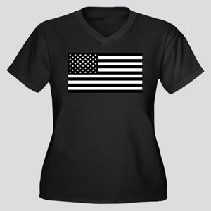 Black And White Stars And Stripe Plus Size T-Shirt