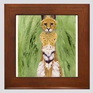 Serval Cat Framed Tile