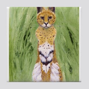 Serval Cat Tile Coaster