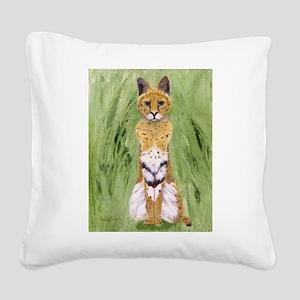 Serval Cat Square Canvas Pillow