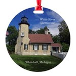 White River Lighthouse Aluminum Round Ornament