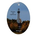 Presque Isle Lighthouse From Water Oval Ornament