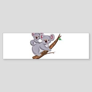 Koala Bear and Baby in Tree Branch Bumper Sticker