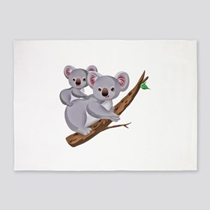 Koala Bear and Baby in Tree Branch 5'x7'Area Rug